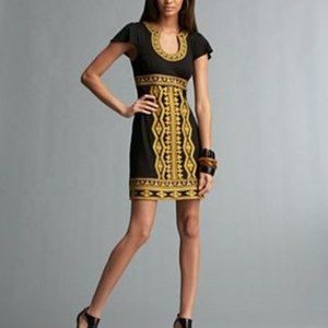 INC Embroidered Sleeveless Black Gold Mini Dress M
